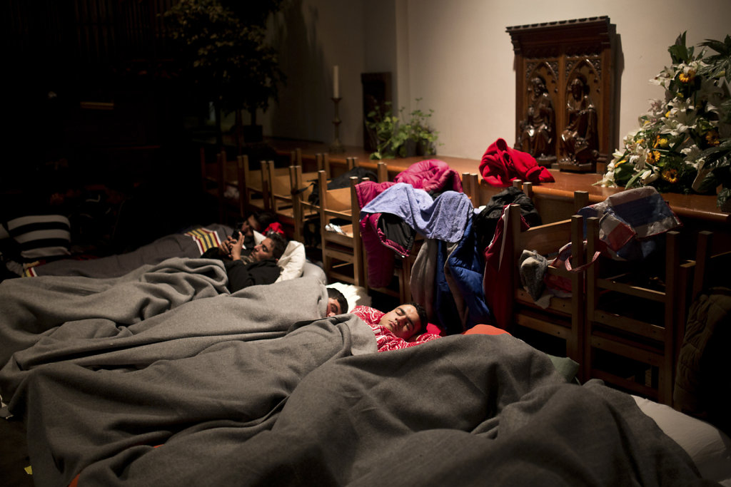 Shelter for refugees in a Church